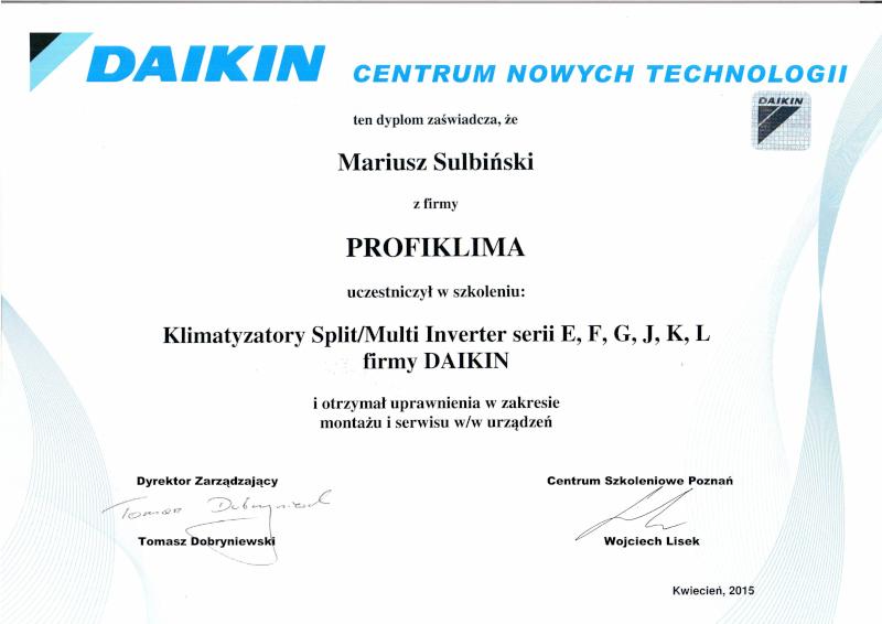 Certyfikat autoryzowany serwis klimatyzacji Daikin typu split