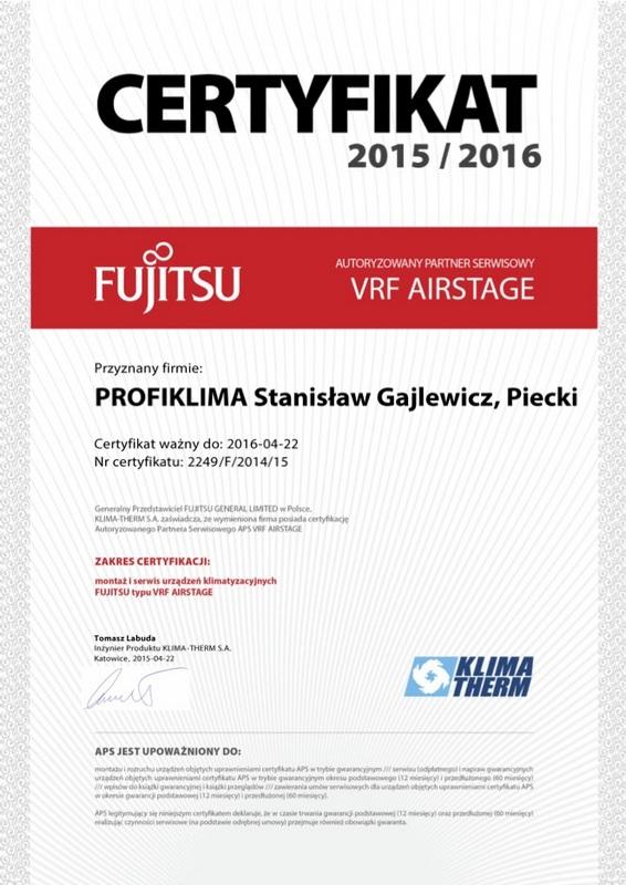 Certyfikat Autoryzowany Serwis Klimatyzacji Fujitsu VRF