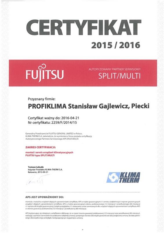 Certyfikat Autoryzowany Serwis Klimatyzacji Fujitsu