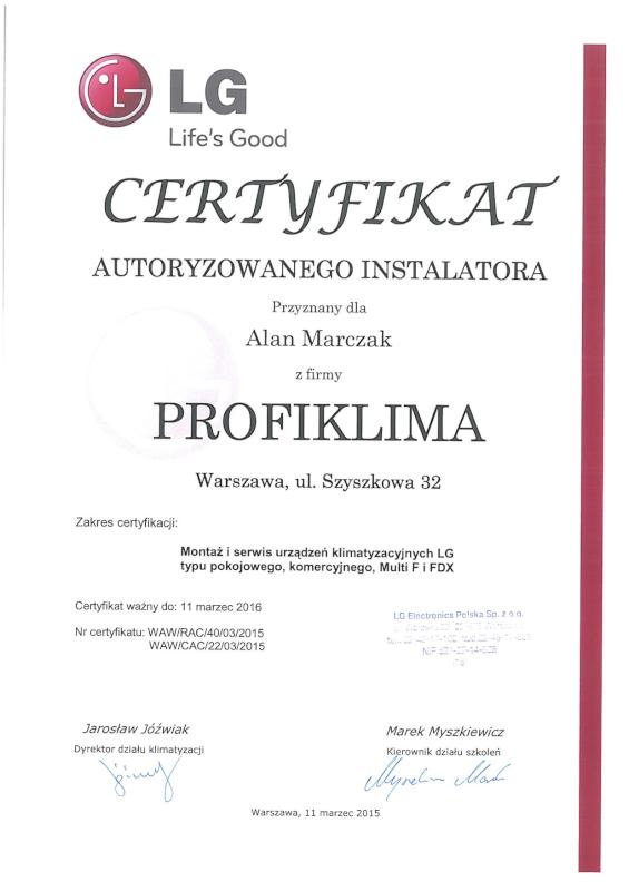 Certyfikat Autoryzowany Serwis Klimatyzacji LG