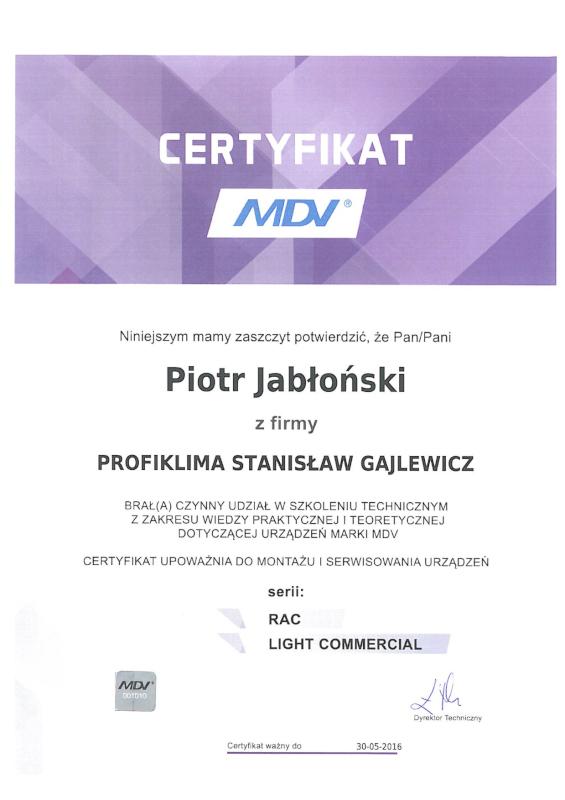 Certyfikat Autoryzowany Serwis Klimatyzacji MDV