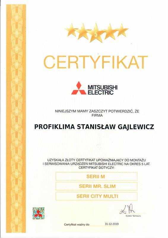 Certyfikat Autoryzowany Serwis Klimatyzacji Mitsubishi