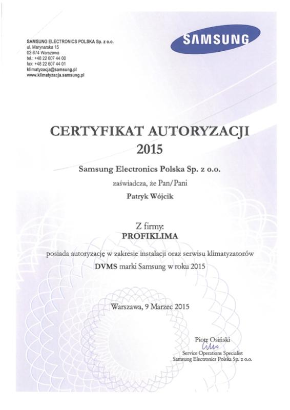 Certyfikat Autoryzowany Serwis Klimatyzacji Samsung