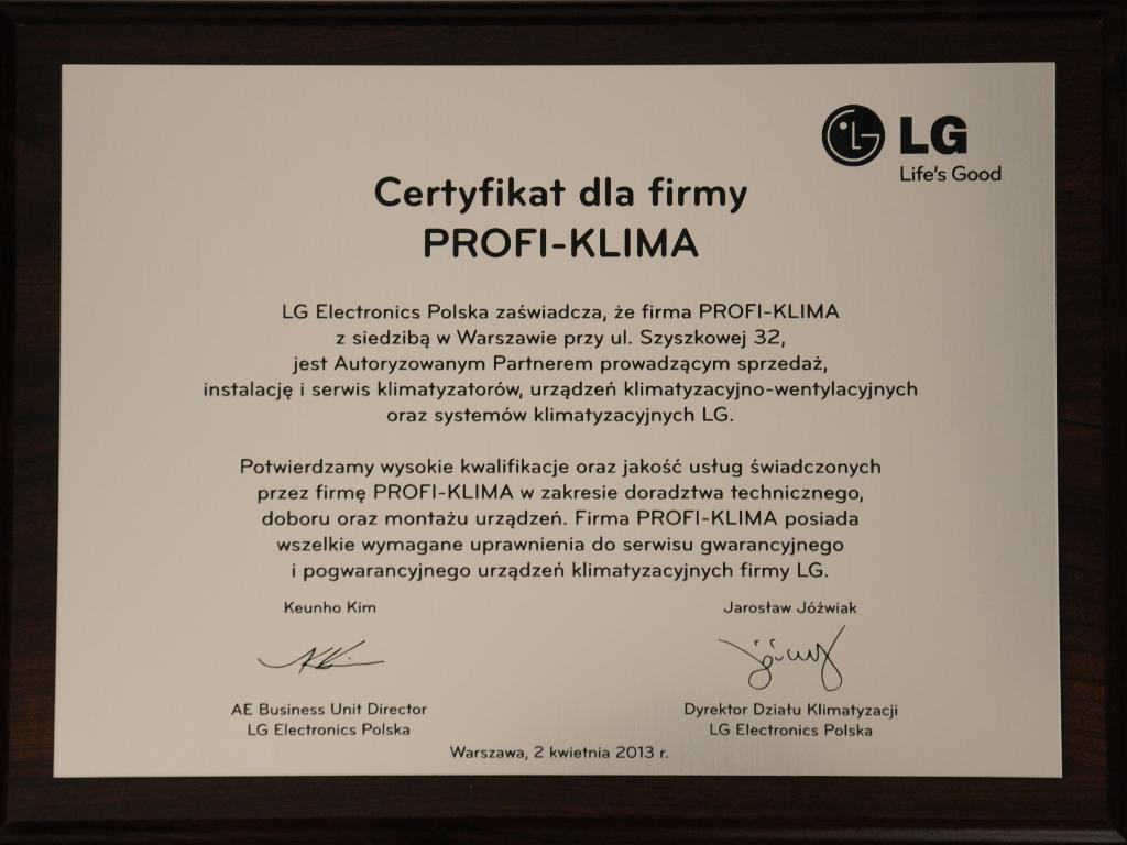 Certyfikat klimatyzacja LG autoryzowany partner
