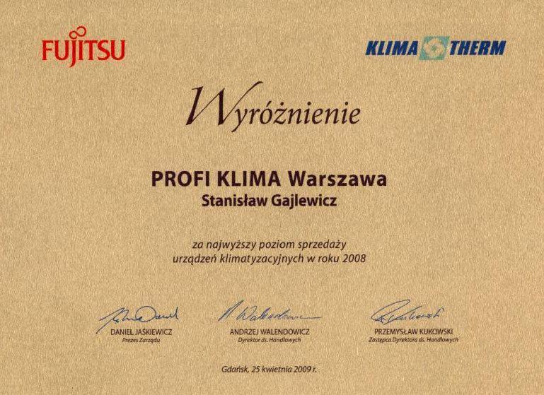 Dyplom za największą sprzedaż klimatyzacji Fujitsu 2008
