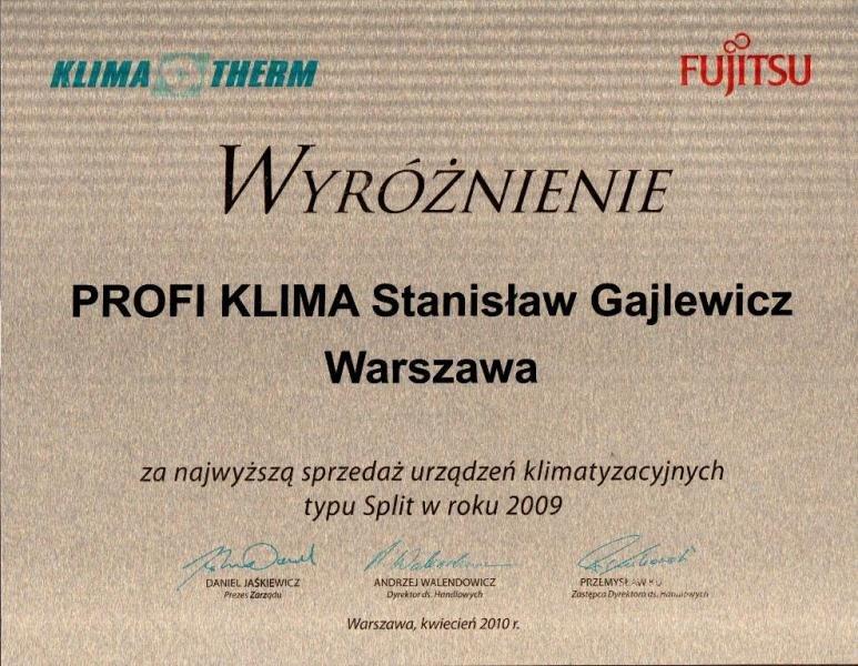 Dyplom za największą sprzedaż klimatyzacji Fujitsu 2009