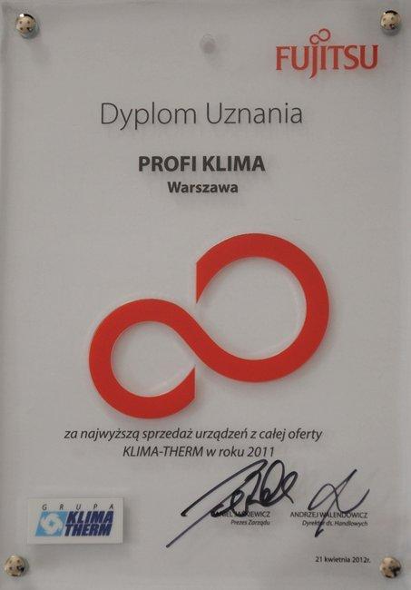 Dyplom za największą sprzedaż urządzeń marki Fujitsu 2011