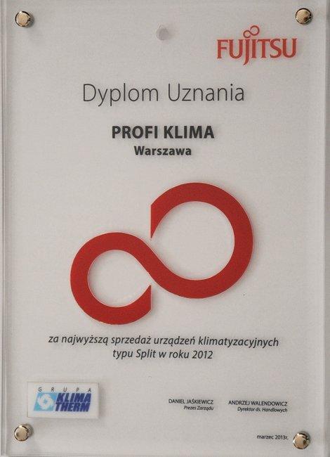 Dyplom za największą sprzedaż urządzeń marki Fujitsu 2012