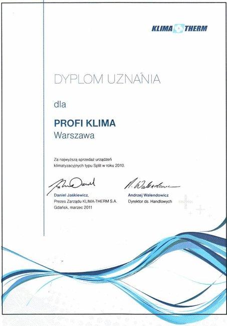 Dyplon za największą sprzedaż urzadzeń marki Fujitsu 2010