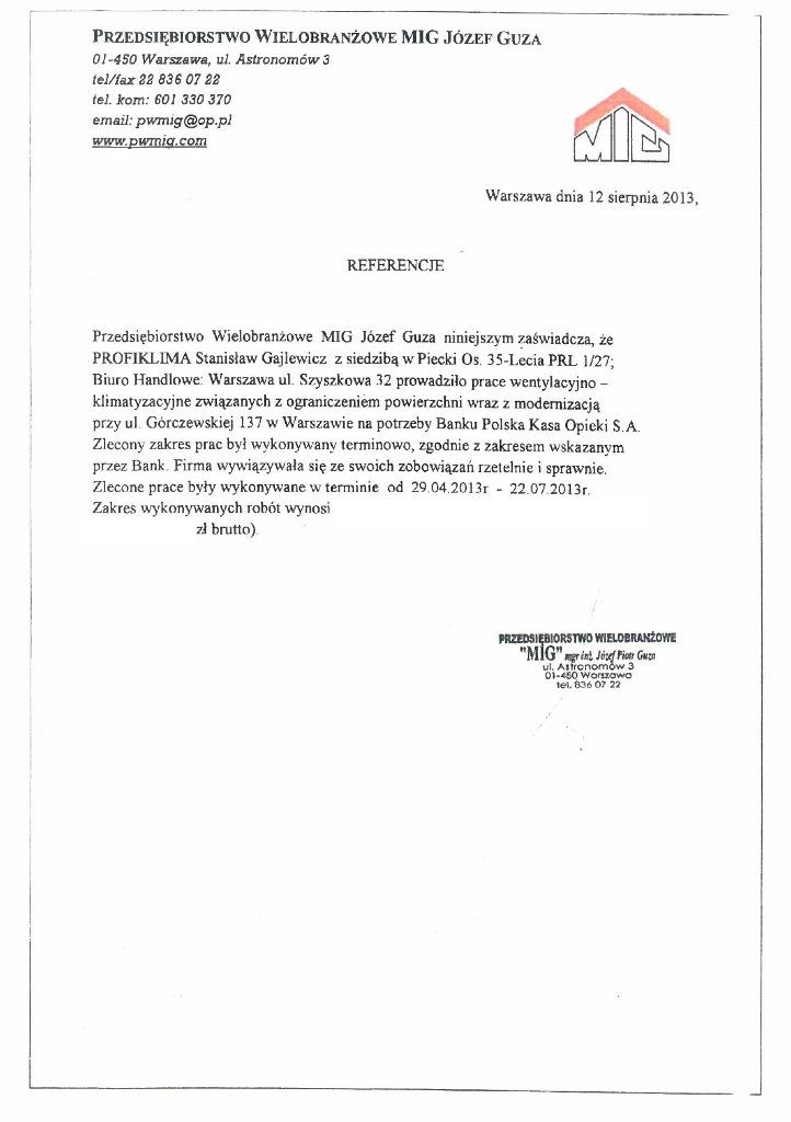 Montaż klimatyzacji w banku PKO BP Warszawa
