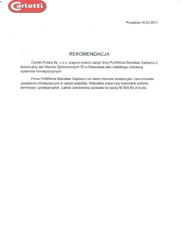 Montaż klimatyzacji w biurze firmy Carletti