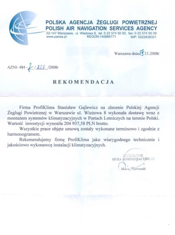 Montaż klimatyzacji w Polskiej Agencji Żeglugi Powietrznej