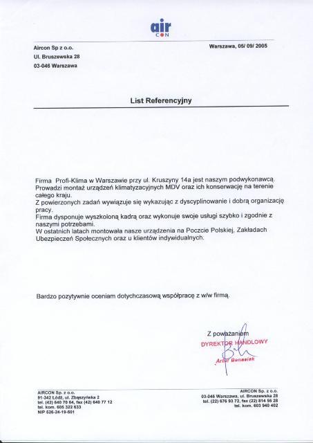 Referencje firmy Aircon